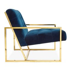 Lounge chair features Polished brass frame with Navy velvet or Oyster linen fabric upholstery by Jonathan Adler Navy Velvet Chair, Velvet Armchair, Blue Velvet, Velvet Lounge, Velvet Chairs, Gold Furniture, Coaster Furniture, Steel Furniture, Furniture Ideas