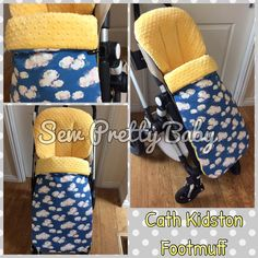 Footmuff made in a funky cath kidston clouds fabric and lined in a premium yellow dimple cuddle.