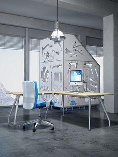 Angular desk Kinesis with metallic legs and top finish Beech  //  ---  //  Scrivania angolare Kinesis con gambe in metallo e piani finitura Faggio
