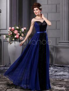 A-line Royal Blue Chiffon Sequin Floor-Length Fashion Prom Dress - Milanoo.com