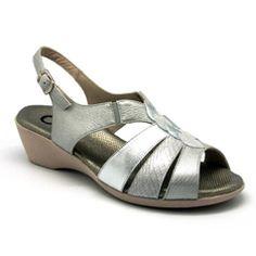 Yio sandalia, color plata, planta de gel, ancho especial