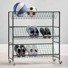 Pottery Barn Teen Industrial Metal Ball And Shoe Rack – Top Trend – Decor – Life Style Best Shoe Rack, Diy Shoe Rack, Shoe Storage, Shoe Racks, Storage Baskets, Hanging Closet Organizer, Shoe Organizer, Shoe Tidy, Smart Closet