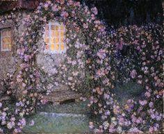 La roseraie au crepuscule, by Henri Le Sidaner (French, 1862-1939)