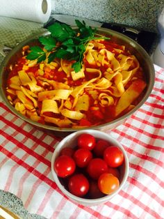 Homemade pasta with garden fresh tomatoes,garlic,parsley,courgettes and capsicum
