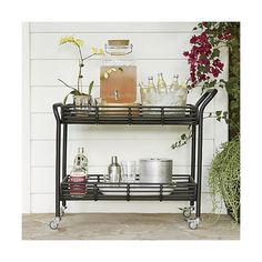 Kruger Black Bar Cart in Outlet Outdoor | Crate and Barrel