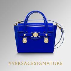 Glossy blue. Discover the #VersaceSignature bag family on versace.com #Versace