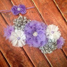 Purple maternity sash- Gray Lavender and White Maternity sash, new born headband, Photo Prop on Etsy, $30.00