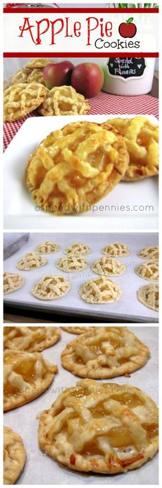 Super Yummy Apple Pie Cookies recipe! These cookies are unlike any other with a pastry crust and warm apple pie filling! Apple Pie Cookie Recipe, Pecan Pie Cookies, Caramel Apple Pie Cookies, Cookie Recipes, Dessert Recipes, Pie Recipes, Banana Bread Recipes, Coconut Banana Bread, Millionaire Pie