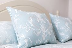 'I chose the stunning Josette print bed linen in duck-egg blue, with its elaborate flowers and swags it reminds me of a French chateau or English stately home...'