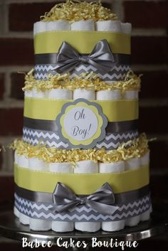 3 Tier Yellow and Gray Chevron OH BOY Diaper by BabeeCakesBoutique