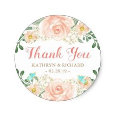 Spring Wedding Favor Blush Peach Flowers Thank You Classic Round Sticker