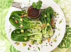 Baby Bok Choy and Avocado Salad with Sweet Soy Vinaigrette and Butter Roasted Sesame Cashews - By Honest Cooking