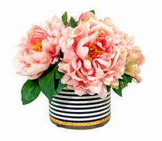 CDFL1514 Pink Peonies in Black and White with Gold Designed Glass Container. Available to purchase at www.cdi25.com