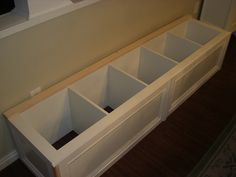 The House of Normandy: Turning a Bookcase into a Banquette - storage in dining room
