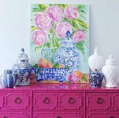 Fuschia painted dresser with blue and white chinoiserie vases. Love the combo of hot pinks and blue and white vintage . Palm Beach Decor, Home Interior, Interior Design, Pink Dresser, Do It Yourself Design, Chinoiserie Chic, Ginger Jars, Colorful Decor, Bright Decor