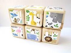 Wood+Baby+Blocks.+Jungle+Animals.+ZOO+Animals.+Baby+by+MiaBooo,+$24.00