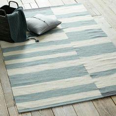 Offset Stripe Wool Dhurrie - Blue Sage | west elm