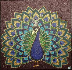 """- handgefertigtes Dotpainting Bild **""""Pfau"""" ** - Acryl auf Leinwand, bespannter Keilrahmen 40x40 cm - hochwertige farb- und lichtechte Acrylfarbe - Auf Instagram unter _n.a.h.dots_ kannst du sehen,... Mandala Art Lesson, Mandala Drawing, Mandala Painting, Art Painting Gallery, Dot Art Painting, Fabric Painting, Peacock Painting, Peacock Art, Mandala Canvas"""