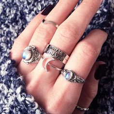 crescent moon, stone & silver rings. i'm in need of some new ones!