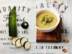 zucchini & pistachios soup Pistachios, Fresh Rolls, Cantaloupe, Zucchini, Swag, Bob, Fruit, Vegetables, Cooking