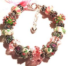 Hand-Made-Pink-Green-Chunky-European-Bead-Charm-Bracelet-Fit-6-1-4-7-1-4-Wrist