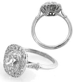Art Deco Style 1.48ct Oval Diamond Platinum Engagement Ring   New York Estate Jewelry   Israel Rose
