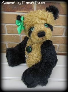 Mohair Panda Bears | Autumn 19IN black and gold panda mohair artist by EmmasBears