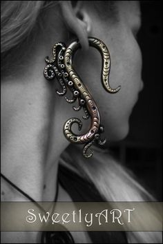 Fake gauge Earring tribal octopus tentacle steampunk black bronze metal look polymer clay trends 2014 summer festival - made to order By Etsy