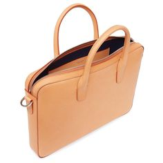 Italian cammello Vegetable Tanned Men's leather briefcase with blu patent coated interior. Zip closure with interior pocket. Adjustable and removable shoulder strap. Made in Italy. Leather Briefcase, Leather Craft, Men's Leather, Tan Guys, Leather Working, Gym Bag, Shoulder Strap, Handbags, Bags