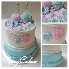 Fairycakes has made this gorgeous knitting basket cake using our Button Mould and our Crochet Flower and Leaf Mould.