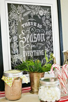 Create a Hot Cocoa Bar perfect for warming up on a cold day. Leave it up all… Christmas Mantels, Christmas Art, All Things Christmas, Christmas Holidays, Christmas Ideas, Chalkboard Art, Chalkboard Designs, Hot Cocoa Bar, Hot Chocolate Bars