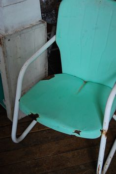 old worn turquoise chair Aqua, Teal, Purple, Turquoise Chair, Tiffany Blue Box, Urban Farmhouse, Old And New, Blues, The Past