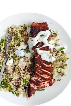 Cajun salmon with herb bulgar wheat and yoghurt dressing: The best salmon recipe for one. Served with a bulgar wheat and fresh herbs then drizzled with a lime-yoghurt dressing for a quick and healthy idea for midweek. Fish Recipes, Seafood Recipes, Cooking Recipes, Healthy Recipes, Fodmap Recipes, Yummy Recipes, Yummy Food, Salmon Recipe For One, Clean Eating