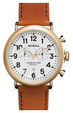 A solid-steel case and premium topstitched leather strap complete a timeless silhouette that he will love.