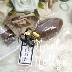 Rugby ball lolipop favors