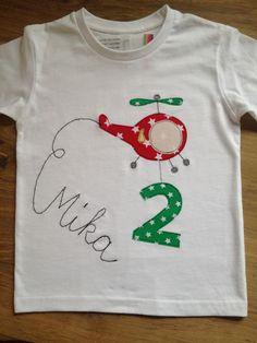 Langarmshirts - Shirt mit Hubschrauber und Name in Schreibschrift - ein Designerstück von farbpiraten bei DaWanda