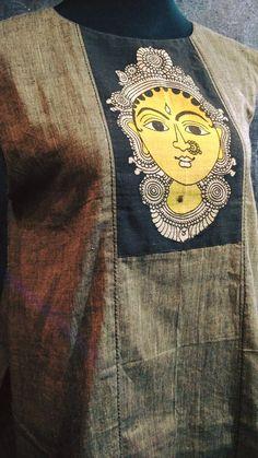 Ready to stitch handloom kurthi with kalamkari face. Saree Painting, Kalamkari Painting, Dress Painting, Fabric Painting, Fabric Art, Hand Painted Dress, Hand Painted Fabric, Painted Clothes, Kalamkari Designs