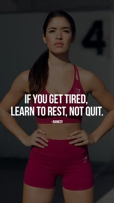 """If you get tired, learn to rest, not quit."" - Banksy. Gymshark Motivational Quote. #gymshark #motivation"