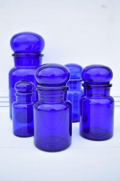 Cobalt Blauwe Vintage Apothekers Potten Seventies Bohemien Retro Style