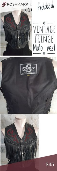 Vintage shaf leather Moto vest roses corset sides Vintage shaf leather Moto vest roses corset sides This is an amazing piece . It is in excellent condition . It says xxs but can fit up too small. The sides tightened or loosened. Skull studs on shoulders.  No visable signs of wear or damage  No odors   Pre owned condition *******All items are in pre owned condition, Nothing, unless noted , is brand new **** please ask questionsFor sale in my posh closet…