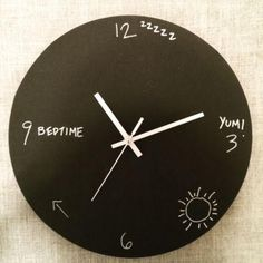Chalk Clock by Leventhal-Vermaat Design For kiddies just learning to tell time, it can be hard to explain the details of when it is bedtime or school hours. Enter this Toronto couple that makes chalkboard clocks, making it easy for parents to customize the clock to help their children learn to read the face and ease into routines, like after school programs and bedtime.  www.oneofakindonlineshop.com/home/home-decor/chalk-board-clock.html  |  $55