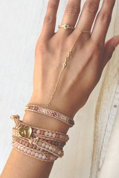 Valentine's Day Collection   Pink Mix Wrap Bracelet on Beige Leather - Chan Luu