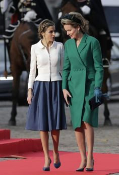 Queen Mathilde of Belgium and Queen Letízia of Spain #royal facts #queenletizia #queenmathilde #redcarpet