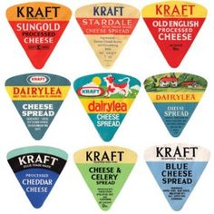 Used to save these, cheese spread labels. Foil wrapped triangles in a circular box