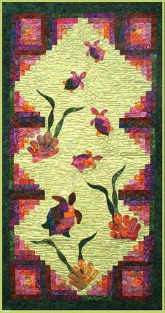 Images of batik quilts designed by Vicki Stratton, Quilting Time Designs Hawaiian Quilt Patterns, Hawaiian Quilts, Tropical Quilts, Turtle Quilt, Quilting Designs, Quilting Patterns, Batik Quilts, Pineapple Images, Log Cabin Quilts