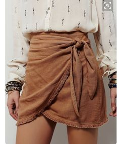 skirt white shiirt wrap skirt camel skirt mini skirt shirt stacked bracelets bracelets suede skirt boho bow wrapped skirt ruched printed shirt back to school summer outfits fall outfits fall colors beige skirt mini