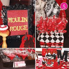 {Party of UP First Birthday, Paisley & Polka Dots, Frog Prince Baby Shower, Tea Party & Moulin Rouge // Hostess with the Mostess® Burlesque Party Decorations, Diy Party Decorations, Party Themes, Party Ideas, 40th Bday Ideas, Birthday Ideas, Parisian Party, Poker Party, Bachlorette Party