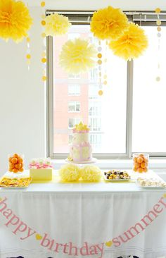 Cute Sunshine Themed Birthday Party (color scheme could be adjusted for a little boy...maybe yellow and green?)