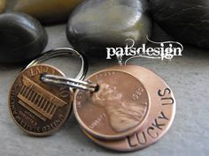 Lucky Us Copper Keychain with two lucky pennies by patsdesign, $18.00