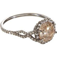 Monique Pan Champagne  White Diamond Ring.